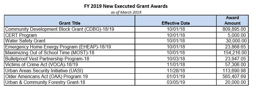 New Executed Grants Awarded - 2019
