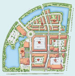 Illustrated map of the plans for the Miramar Town Center