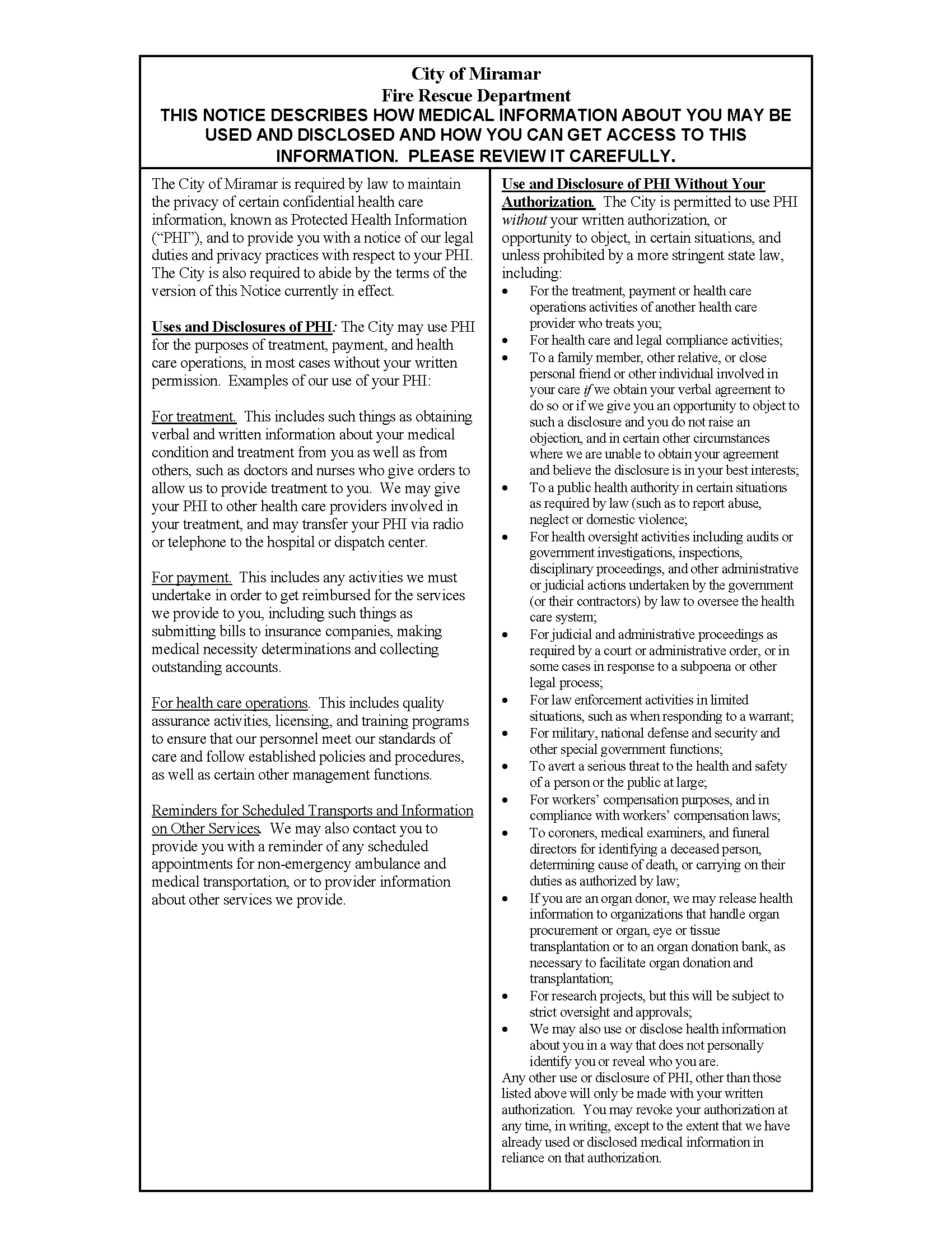 Notice of Privacy Practices Page 1