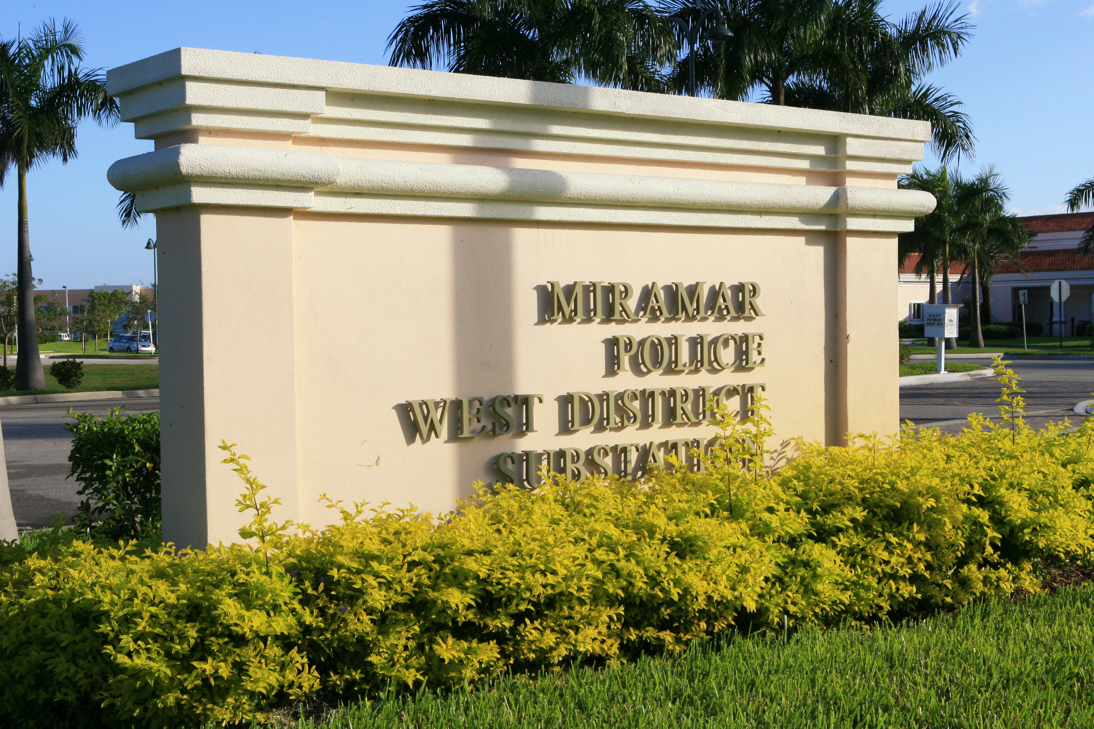 The Miramar Police West District Substation sign
