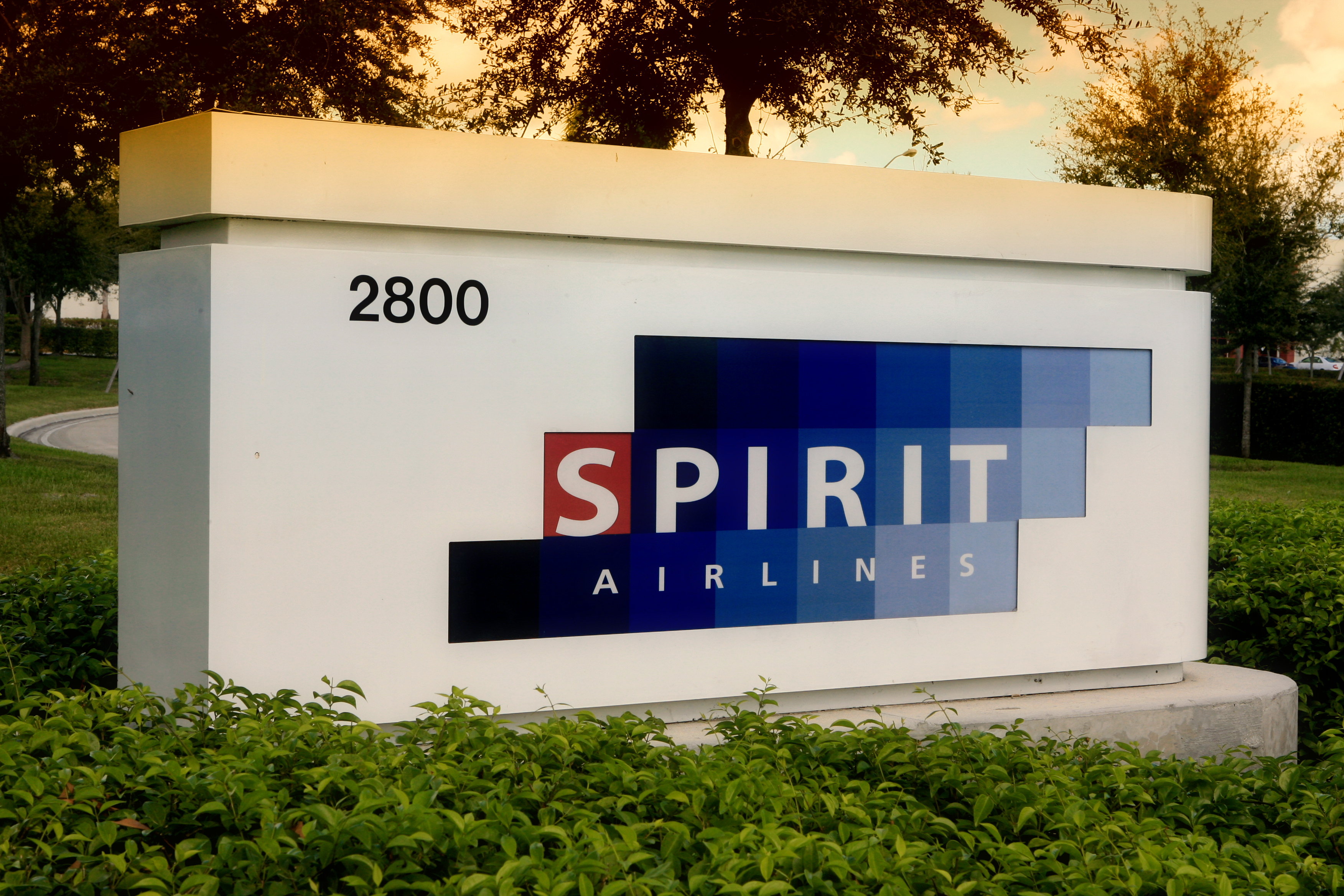 Business sign for Spirit Airlines, including the street address